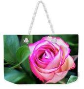 Pink Rose With Leaves Weekender Tote Bag