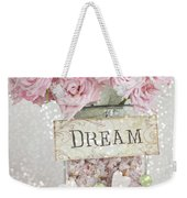 Shabby Chic Dreamy Pink Roses - Cottage Chic Pink Romantic Roses In Jar  - Dream Roses Weekender Tote Bag