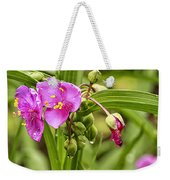 Pink Spiderwort Drip Drops Weekender Tote Bag