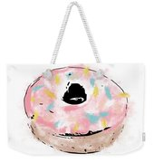Pink Sprinkle Donut- Art By Linda Woods Weekender Tote Bag by Linda Woods