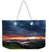 Pink Sunrise And Blue Clouds In The Mountains Of Kamnik Savinja  Weekender Tote Bag