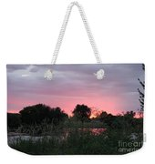 Pink Sunset With Green Riverbank Weekender Tote Bag