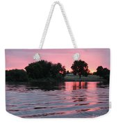 Pink Sunset With Soft Waves Weekender Tote Bag