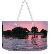 Pink Sunset With Soft Waves In Black Framing Weekender Tote Bag