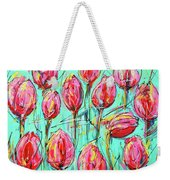 Pink Tulip, Turquoise Weekender Tote Bag