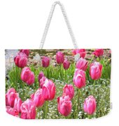 Pink Tulips By Peaceful Pond Weekender Tote Bag