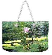 Pink Water Lily Pad Weekender Tote Bag