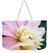 Pink White Dahlia Flower Soft Pastels Art Print Canvas Baslee Troutman Weekender Tote Bag
