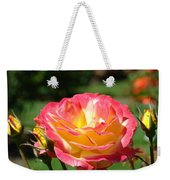 Pink Yellow Roses 3 Summer Rose Garden Giclee Art Prints Baslee Troutman Weekender Tote Bag