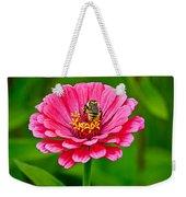 Pink Zinnia Bee Weekender Tote Bag