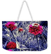 Pink Zinnia's Against A Silver Background Weekender Tote Bag