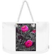 Pink Zinnias Against Grey Background Weekender Tote Bag