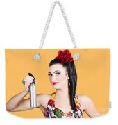 Pinup Woman Holding A Cleaning Spray Bottle Weekender Tote Bag