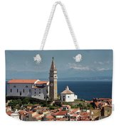 Piran Slovenia With St George's Cathedral Belfry And Baptistery  Weekender Tote Bag