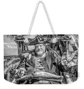 Pirate Captain And Parrots Black And White Weekender Tote Bag