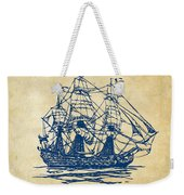 Pirate Ship Artwork - Vintage Weekender Tote Bag