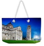 Pisa Cathedral With The Leaning Tower Of Pisa, Tuscany, Italy At Night Weekender Tote Bag
