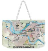 Pittsburgh Pennsylvania Fine Art Print Retro Vintage Map With Touristic Highlights Weekender Tote Bag