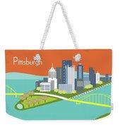 Pittsburgh Pennsylvania Horizontal Skyline - Orange Weekender Tote Bag