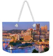 Pittsburgh Pennsylvania Skyline At Dusk Sunset Panorama Weekender Tote Bag
