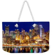 Pittsburgh Pennsylvania Skyline At Night Panorama Weekender Tote Bag