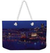 Pittsburgh Skyline At Night Christmas Time Weekender Tote Bag