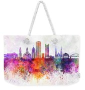 Pittsburgh V2 Skyline In Watercolor Background Weekender Tote Bag