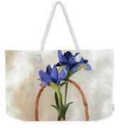Plain Blue Iris Weekender Tote Bag
