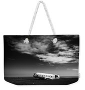 Plane Wreck Black And White Iceland Weekender Tote Bag
