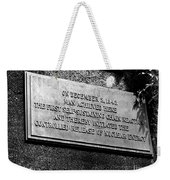 Plaque Commemorating Chicago Pile-1 Weekender Tote Bag