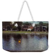 Plastic Buoy In Front Of A Lake Weekender Tote Bag