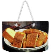 Plate With Sliced Bread And Knives Weekender Tote Bag