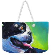 Playful Boston Terrier Weekender Tote Bag by Svetlana Novikova