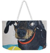 Playful Dachshund Weekender Tote Bag by Megan Cohen