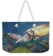 Playful Green Sea Turtle Weekender Tote Bag