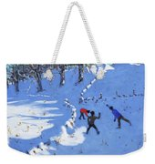 Playing In The Snow Youlgrave, Derbyshire Weekender Tote Bag