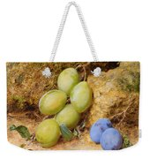 Plums And A Rose Hip On A Mossy Bank Weekender Tote Bag