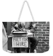 Poet For Hire, Portland, Maine  -31172-bw Weekender Tote Bag by John Bald