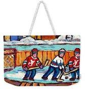 Outdoor Hockey Rink Painting  Devils Vs Rangers Sticks And Jerseys Row House In Winter C Spandau Weekender Tote Bag