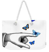 Pointing Finger With Blue Butterflies Weekender Tote Bag