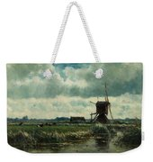 Polder Landscape With Windmill Near Aboude Weekender Tote Bag