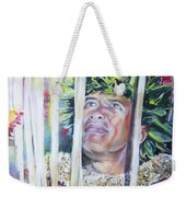 Polynesian Maori Warrior With Spears Weekender Tote Bag