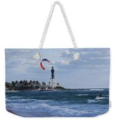 Pompano Beach Kiteboarder Hillsboro Lighthouse Weekender Tote Bag