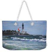 Pompano Beach Kiteboarder Hillsboro Lighthouse Waves Weekender Tote Bag