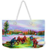 Pond Hockey Blue Skies Weekender Tote Bag