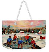 Pond Hockey Countryscene Weekender Tote Bag