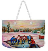 Pond Hockey Warm Day Weekender Tote Bag