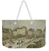Pont Neuf Snow Effect Weekender Tote Bag by Camille Pissarro