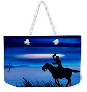 Pony Express Rider Blue Weekender Tote Bag