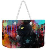 Pop Art Black Cat Painting Print Weekender Tote Bag by Svetlana Novikova